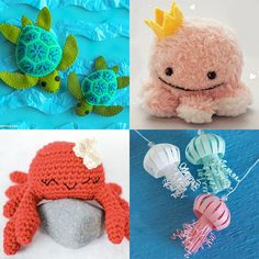 Sea Creatures Crafts, Kawaii Crafts, Cute Diys, Craft Kits, Turtle, Dinosaur Stuffed Animal, Super Cute, Crochet Hats, Diy Crafts