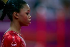 Team USA's Gabrielle Douglas is perfectly focused during the Women's Team Artistic Gymnastics finals.  London Olympics 2012