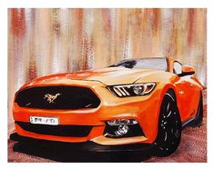 Art print of gouache painting of cool orange Ford Mustang. These days, they have immensely Cool Sports Cars, Cool Cars, Car Painting, Gouache Painting, Tumblr Car, Ford Mustang Car, Ford Classic Cars, Car Posters, Car Drawings