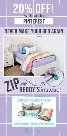 "Start your morning off right! With Beddy's we make it easy! All you do is zip! Use code ""PINTEREST"" for 20% off! #beddys #beddysbeds #zipperbedding #zipyourbed #bunkbeds Interior Decorating Styles, Mobile Home Decorating, Interior Design Tips, Floral Bedroom Decor, Boho Decor, Shabby Chic Decor, Kid Beds, Bunk Beds, Beddys Bedding"