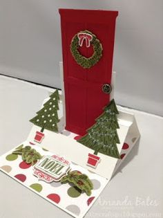 The Craft Spa - Stampin' Up! UK independent demonstrator : Swing Easel Card for Fancy Fold Friday - Shut the Door! Christmas Scrapbook, Christmas Cards, Shut The Door, Shaped Cards, Easel Cards, Folded Cards, Diy Cards, Cardmaking, Christmas Stockings