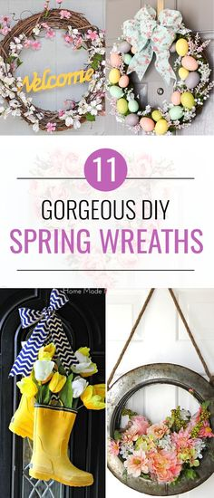 These pretty DIY Spring wreaths will add a touch of color to your front door! Fresh floweres and Easter eggs are perfect for these. Diy Spring Wreath, Diy Wreath, Spring Crafts, Wreath Making, Wreath Crafts, Wreath Ideas, Crafts For Teens, Diy And Crafts, Homemade Wreaths