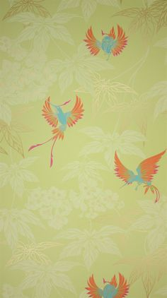 Osborne & Little: W5603-01 An exotically coloured hummingbird darting between foliage, named after the tropical bird garden outside Kells in County Meath.  PRODUCT TYPE Wallpaper; washable.