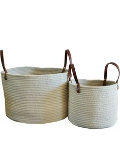 Braided Wool Baskets, Mist with Leather Handles