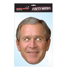 """Laadukas ja täysin aidon näköinen valokuvasta tehty pahvinen muotoon leikattu """"George Bush"""" naamio silmäaukoilla ja joustavalla kiinnitysnarulla. Koko noin 28cm x 20cm. Järjestä kunnon julkkisbileet ja hommaa naamarit kaikille!"""