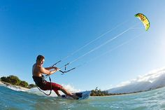 Kiteboarding is a surface water sport combining aspects of wakeboarding, windsurfing, surfing, paragliding, and gymnastics into one extreme sport.