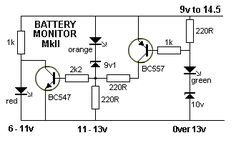 BATTERY MONITOR  MkII This battery monitor circuit uses 3 separate LEDs.  The red LED turns on from 6v to below 11v. It turns off above 11v and  The orange LED illuminates between 11v and 13v.  It turns off above 13v and  The green LED illuminates above 13v By Collin Mitchell - 30 LED Project.