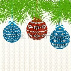Christmas Background with Knitted Ball. Stock Photo