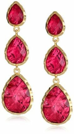Perfect for New Year's Eve  - Amrita Singh Three Drop Ruby-Colored Foil Earrings  $28