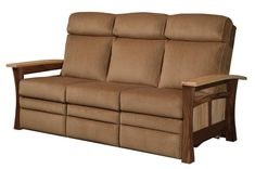 Amish Shaker Gateway Recliner Sofa Deluxe sofa Amish made in choice of wood, finish and upholstery. Option to add power recline in all sections if you'd like! #DutchCrafters