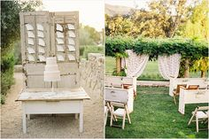 vintage doors as decor, vintage tables and pews as ceremony seating