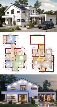 Modern European Contemporary Architecture House Plan Design Concept M 166 - Dream Home Ideas Layout Drawing with House Plans Blueprint - Interior Styles Inspiration with Kitchen and Living Room Bathroom Bedroom Garage and Garden Exterior - Arquitectu Plans Architecture, Modern Architecture House, Classical Architecture, Residential Architecture, Architecture Design, Architecture Portfolio, Home Design Plans, Plan Design, Design Ideas