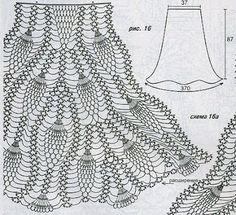 Miss Flor Croche: Saias longas em croche 2 grafico saia mesclada de marrom