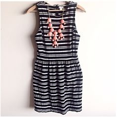 J. Crew striped dress Gorgeous black and white dress by J. Crew! Wear a blazer over it for work or dress it up with some great jewelry and heels for a night out! Very good condition, just mild wash wear. Measurements coming soon! J. Crew Dresses Mini