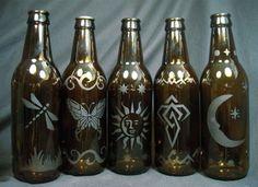 Smoking Bottle Incense Burners - Etched Glass - Upcycled Beer Bottles. $10.00, via Etsy.