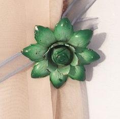 Vintage Curtain Tacks Green Metal Flowers Pair by TazamarazVintage