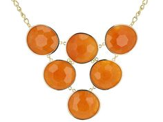Orange you glad you found your next statement necklace?! - Moda Di Pietra(Tm) Orange Quartzite 18k Yellow Gold Over Bronze Necklace