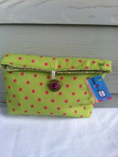 cosmetic bag  pink and green travel tote     by sewitsmadebyWendy