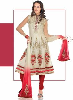 Cream And Red Georgette Kalidar Suit