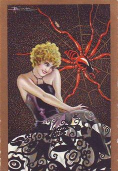 Little Miss Muffet / Halloween spider and flapper by Adolfo Busi