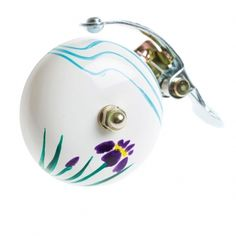 Crane Handpainted Bell White Hana. Very cute floral bike bell.