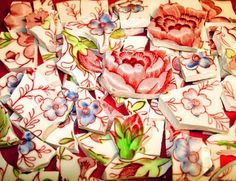 Good example of how to cut your shards from dishes for mosaic work(Vintage Rose Chintz Tessera)