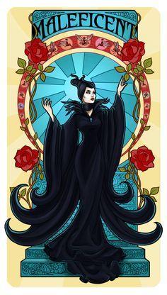 Maleficent Art Nouveau by Paola-Tosca on DeviantArt sleeping beauty Disney Fan Art, Disney Pixar, Disney And Dreamworks, Disney Love, Disney Magic, Evvi Art, Disney Maleficent, Maleficent Tattoo, Disney Villains Art