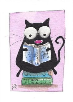 ACEO Original watercolor painting whimsical fat black cat kitty book worm #IllustrationArt