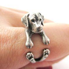 Labrador Retriever Dog Shaped Animal Wrap Ring in Siver
