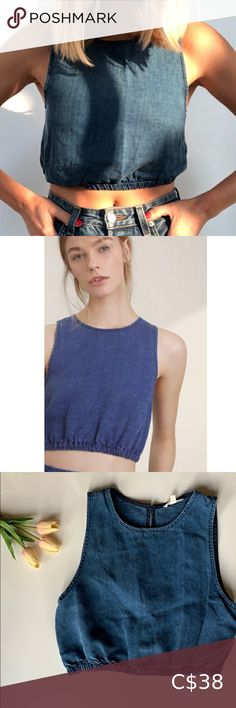 """Aritzia Wilfred Chambray Crop Top S Small This crop top is soft and comfortable.  There is an elasticized hem and a small button closure at the back.  In great condition.  63% Lyocell 37% Linen.  Approximate measurements: 17"""" from underarm to underarm  15.5"""" from shoulder to hem Wilfred Tops Crop Tops Plus Fashion, Fashion Tips, Fashion Trends, Chambray, Top Colour, Crop Tops, Clothes For Women, Underarm, Closure"""