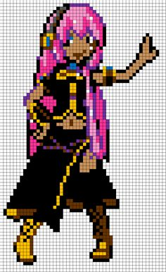 Megurine Luka pixel art template: I made this one myself from one of the perler bead designs I saw. Took me three hours...