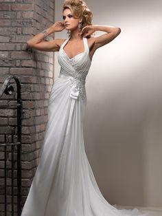 Sheath/Column Halter Chiffon Ruffles Wedding Dresses #BK840