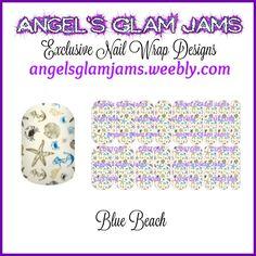 Blue Beach Jamberry Nail Wraps by Angel's Glam Jams  ORDER HERE: http://angelsglamjams.weebly.com/blue-beach.html  #beach #seashells #blue #summer #jamberry #nailwraps
