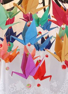 Origami Crane Decorations - Hang from Embroidery Hoops