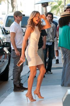 Jennifer Aniston Strappy Sandals - Jennifer Aniston rocked nude stilleto heels on the set of 'Just Go With It'.
