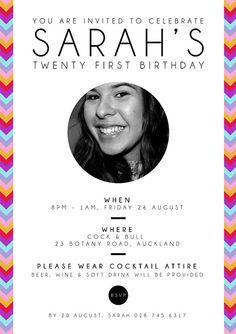 Colourful Striped 21st Birthday Invitation  by LovinglyKate, $20.00