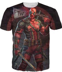 2016 Nuevo Llega El Deadpool Comic Americano Badass T-shirt Camiseta de Los Hombres Personajes de Dibujos Animados de las mujeres 3D camiseta Divertida camiseta Casual camisas top