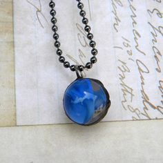 Necklace  Blue Planet  Vintage Marble Necklace by Msemrick on Etsy, $23.00