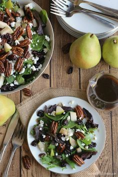 Salad with Goat Cheese, Pears, Candied Pecans and Maple-Balsamic Dressing Recipe