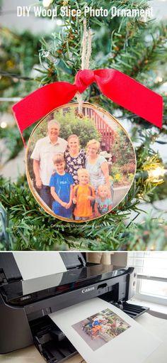 DIY Wood Slice Photo Ornament :: Super easy! Makes an awesome handmade Christmas gift. @CanonUSA #Sponsored
