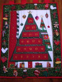 "Fabric Christmas Tree Countdown Advent Calendar 28"" x 36"" Ready to Hang | eBay"