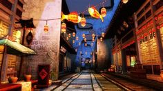This looks like the alleyway we walked into at the end where the colorful bird was. Game Place, Dreams And Nightmares, Alleyway, Backrounds, Kokoro, Anime Scenery, Chinese Art, Deities, Asian Art