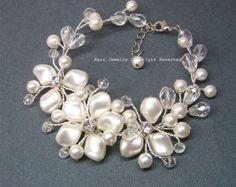Pearls Cluster Wedding Earrings Bridal Earrings by adriajewelry