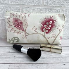 Make up Bag, Cosmetic Bag with Pink Stylised Flowers £5.50