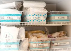 Avoid the frozen dinners avalanche (a hazard of the stuffed freezer), stash your food in labeled bins instead.