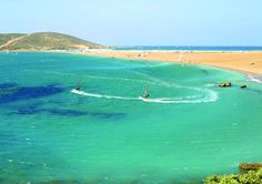 Prasonisi, Rhodes. Where two seas meet!  On the south-most end of the island, this sandy beach with the unblocked view to the Mediterranean is ideal for surfers