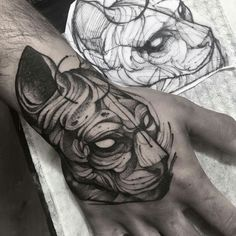 Cat - hand tattoo