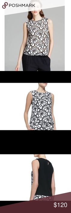 Diane von Furstenberg Black floral Betty top Diane von Furstenberg Women's White Black Betty Floral Lace SZ 10 Top $198-has one hook and eye closure at the back of the neck. Diane Von Furstenberg Tops