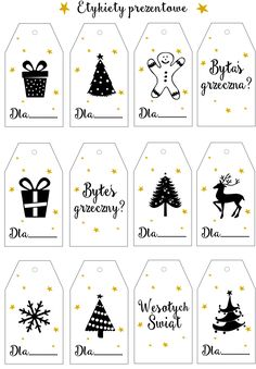 Projektowanie graficzne dla dużych i małych Cricut Christmas Ideas, Christmas Writing, Christmas Stickers, Christmas Gift Tags, Christmas Crafts, Merry Christmas, Bullet Journal Diy, Advent Calenders, Free Printable Gift Tags