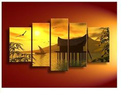5223 unique gift handpainted 5 piece landscape oil painting on canvas wall art beautiful sunset picture for living room $72.00
